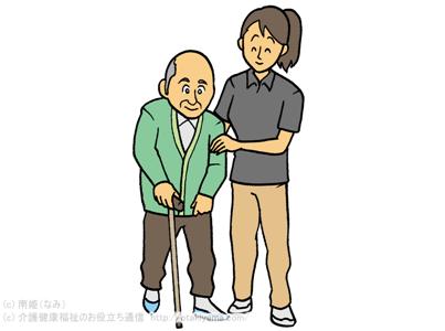 T字杖、一本杖を使って歩行練習・移動訓練、杖歩行を介助しているフリーイラスト