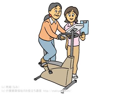 自転車エルゴメーターでマシントレーニングをする高齢者女性