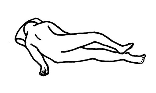 半腹臥位(はんふくがい) 臥床・体位の解説・イラスト図