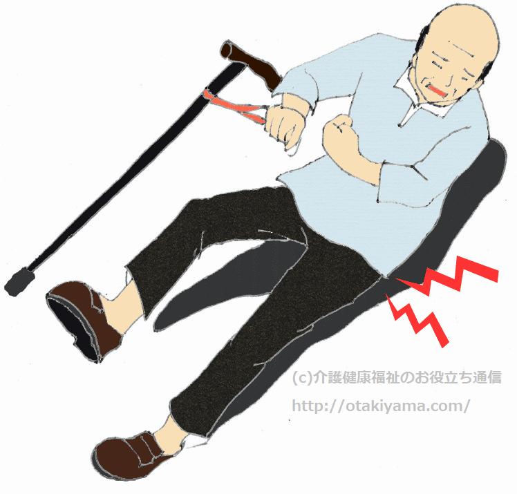 杖歩行で患側に転倒(大腿骨頸部骨折)のフリーイラスト