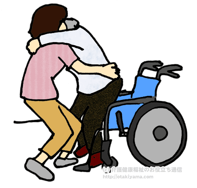 車椅子からベッドへの移乗介助・トランスファーのイラスト・画像