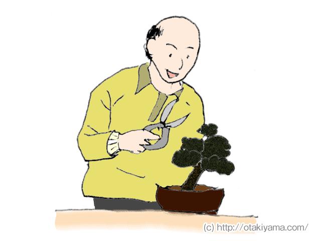 松の盆栽とハサミを持つおじいちゃん・高齢者のイラスト、フリー素材