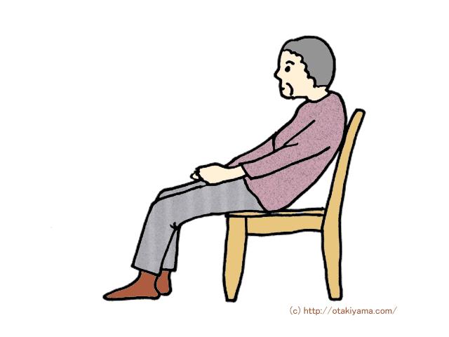 不適切な端座位姿勢である仙骨座りのイラスト
