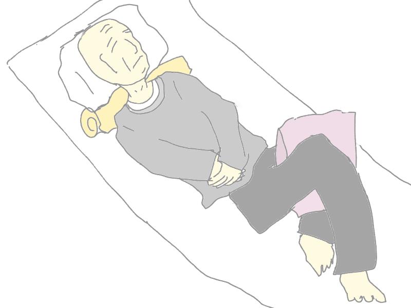 おじいちゃんが背臥位で寝ているときのポジショニング