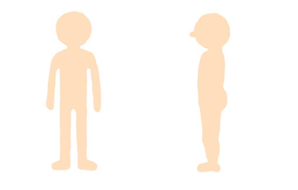 かわいい感じの人体図のイラストフリー素材