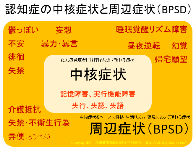 認知症の中核症状、周辺症状(BPSD)の捉え方の研修の図