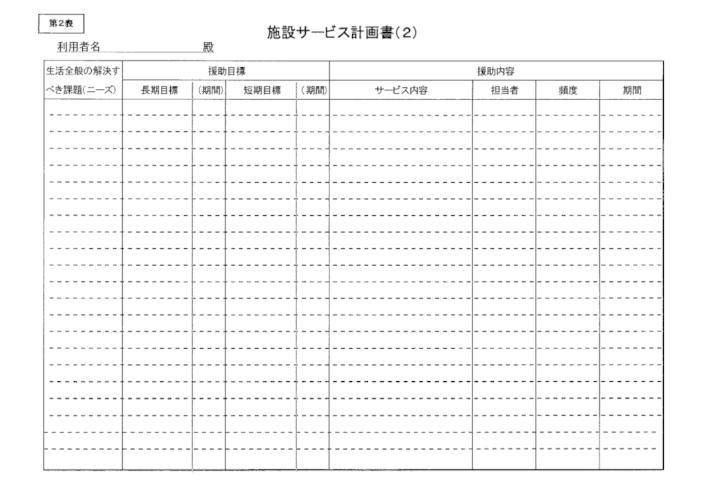 第2表 施設サービス計画書(2)